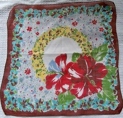 """Vintage 12"""" Square Handkerchief Red Hibiscus Multi-Floral Print On White Cotton!"""