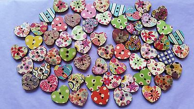 Fabulous Wooden Buttons - Great Assortment -Hearts