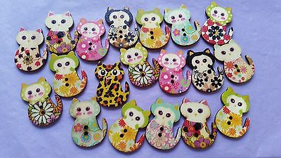 Fabulous Wooden Buttons - Cats - Gorgeous!