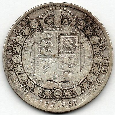 Great Britain 1/2 Crown 1891 (Half Crown) (92.5% Silver) Coin