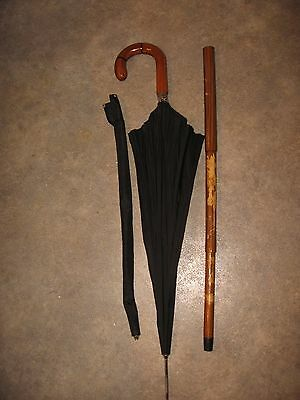 RARE Vintage HUGENDUBEL CANE umbrella combo walking stick wooden handle  COOL