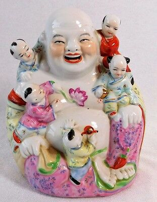 Atq MARKED Chinese Famille Rose Porcelain Laughing Buddha Children Figure CENSOR