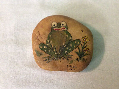 Hand Painted Frog On Rock From 1970, Signed