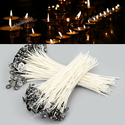 100pcs Candle Wick Pre Waxed With Sustainers Cotton DIY Candle Making Tools AU