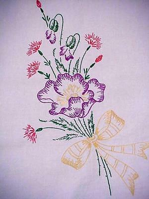Vintage SPRING FLORAL Hand Embroidered Tablecloth GARDEN FLOWERS Lace Edge NICE!