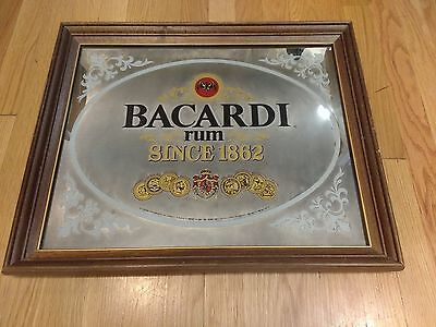 "Vintage BACARDI Rum ""Since 1862"" Mirrored Bar Sign ~ RARE ~ 18x24"