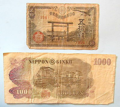 vtg Japanese notes 1942 - 1944 50 Sen and 1963 1000 Yen Nippon Ginko
