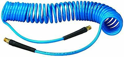 "Amflo 24-25E-RET Blue 120 PSI Polyurethane Recoil Air Hose 1/4"" x 25' With 1/..."