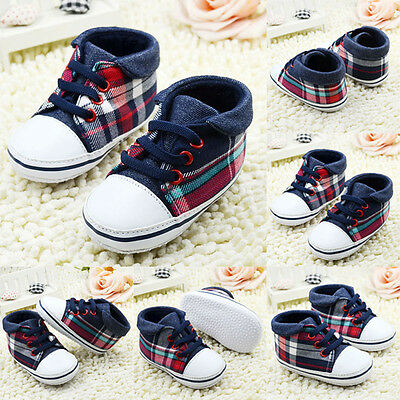 Cute Toddler Baby Boys Plaid Lace Up Shoes Soft Sole Baby Shoes Prewalker 0-18M