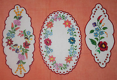3 Vintage Brightly Coloured Embroidered Doilies With Scalloped Edge