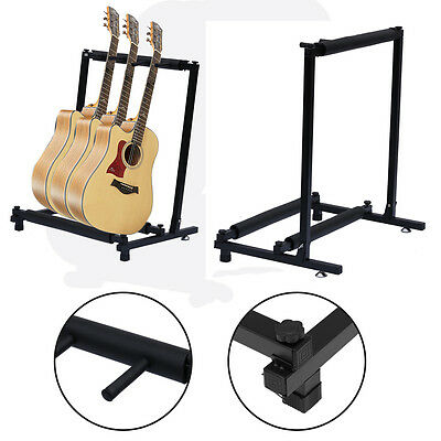 3 Way Multi-Guitar Rack Stand Folding Padded Electric Acoustic Bass Holder Black