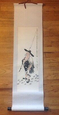 """20th Century Chinese Scrolling Painting """"Fisherman"""" Signed with Box"""