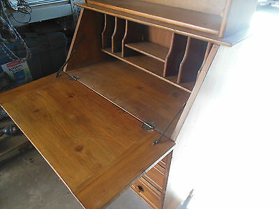 Vintage Mid-Century Drop Secretary Desk w/three drawers and bookcase on top