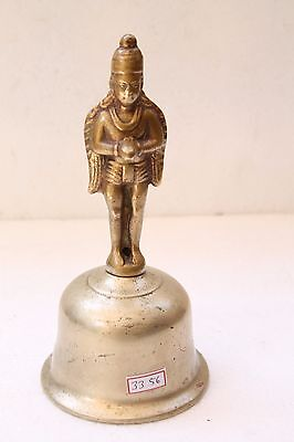 Antique Old Brass Mix Metal Garuda Figure Engraved Big Size Temple Bell NH3356