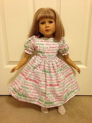 White With Christmas Words Dress for My Twinn  ~ Fun!