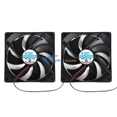 2pcs 120mm 120x25mm 12V 4Pin DC Brushless PC Computer Case Cooling Thermo Fan AU