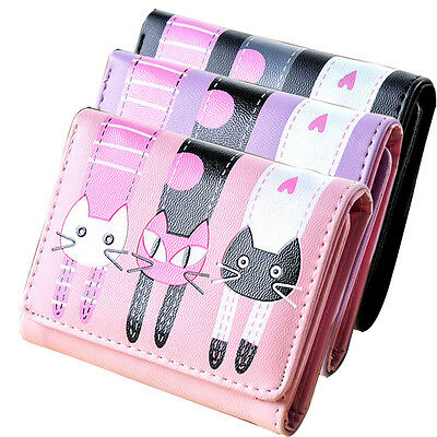 Womens Girl Cat Pattern Coin Purse Clutch Leather Short Wallet Card Holders New