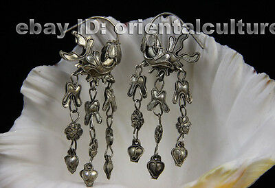 Tribal exotic chinese handmade filligree miao silver earring(chinese ancient pal