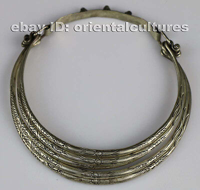 Tribal exotic chinese hand-carved miao silver necklace