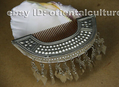 Tribal exotic chinese handmade miao silver comb headgear