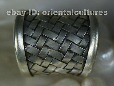 Tribal exotic ethnic chinese hand-woved miao silver ring