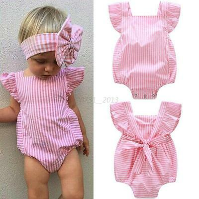 Newborn Baby Kids Girls Cotton Romper Bodysuit Clothes Jumpsuit Outfits 0-18M
