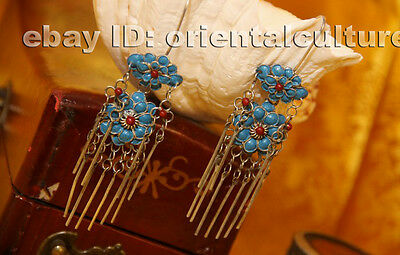 Tribal exotic chinese handmade miao silver filigree enamal earring