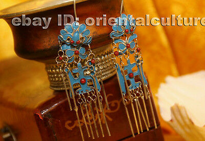 Tribal Exotic Chinese Handmade miao silver filigree enamel Earring
