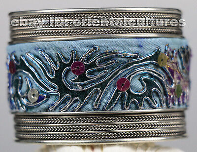 Tribal exotic chinese minority people's old hand embroidery miao silver bracelet