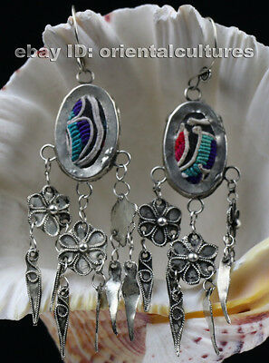 chinese minority people's old hand embroidery filligree miao silver earring