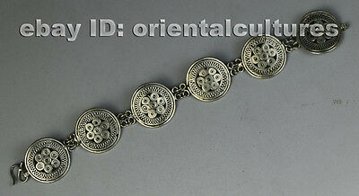 Tribal exotic ethnic chinese handmade filligree miao silver bracelet