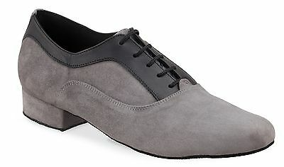 Elite Ricardo Grey Nubuck & Black Leather Men's Dance Shoes Size 41 (US Size 10)