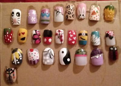 full set of nails. hand painted designs