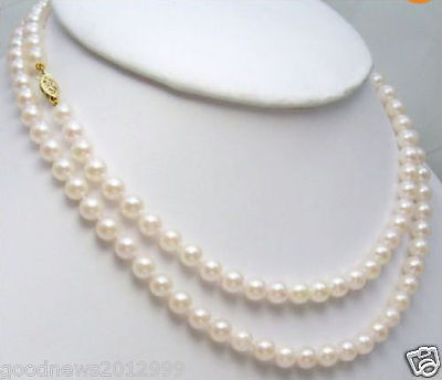 CHARMING 8-9MM AAA WHITE NATURAL AKOYA PEARL NECKLACE 36 INCH 14k + GIFT EARRING