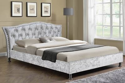 Hot Sale!!! Luxury Silver Crushed Velvet Fabric Bed Frame Double King Size