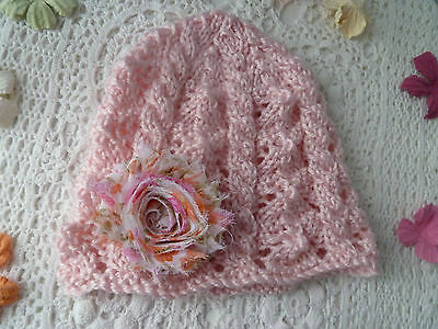 Baby girl hand-knitted lacy hat w chiffon flower, soft acrylic, fits 3 - 6 mths