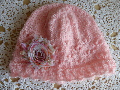 Baby girl lacy hat w chiffon flower hand-knitted in pure wool, fits 6 - 12 mths