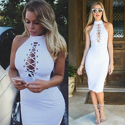 Summer Women Sleeveless Bandage Bodycon Evening Party Cocktail Casual Mini Dress