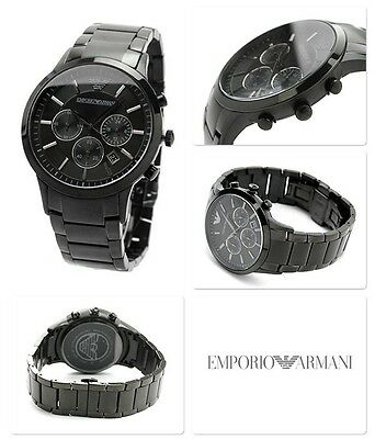 New Emporio Armani Ar2453 Black Dial Stainless Steel Chronograph Mens Watch