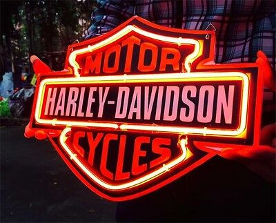 """12"""" x 9"""" Harley Motor Bike Poster Neon Lamp Sign Sculpture Collectibles Real Art"""