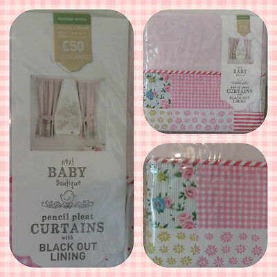 Next Little Poppet Pink Blackout Curtains & Tie Backs 117x137cm 46x54""