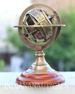 "Antique Brass Armillary Sphere 5"" Nautical Globe Marine Tabletop Gift Item."