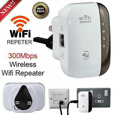 WiFi Repeater Wireless Range Extender Booster Router N 802.11 AP 300Mbps UK PLUG