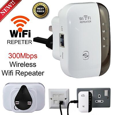 Wireless 300Mbps N 802.11 AP Wifi Range Router Repeater Extender Booster UK Plug