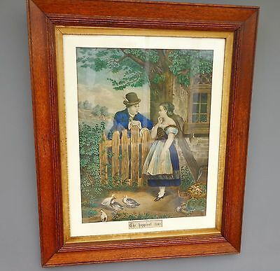 Antique Victorian Large Oak Framed Print Girl & Boy - The Happiest Time c 1880