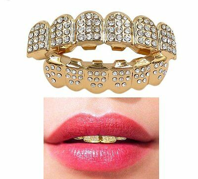 Gold Grillz 24k Diamante Plated Teeth Mouth Grills Top Bottom Bling Hip Hop Rap
