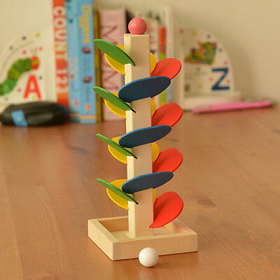 Creative Wooden Tree Blocks Marble Ball Run Track Game Toy Educational Toy ZJZJ