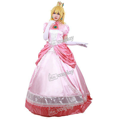 Princess Peach Cosplay Costume Women Girl Halloween Pink Fancy Dress