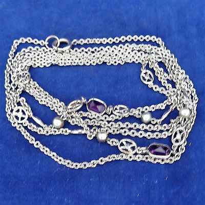 Antique Victorian Edwardian Long Guard Muff Chain Open Back Amethyst Pastes 1900