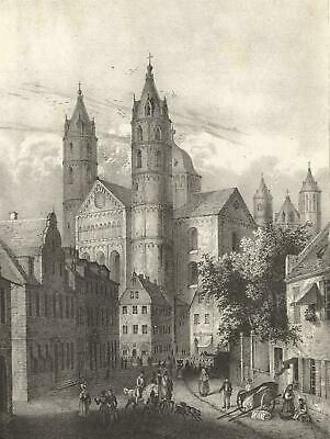 WORMS - Ansicht - Dom - Lithographie 1838